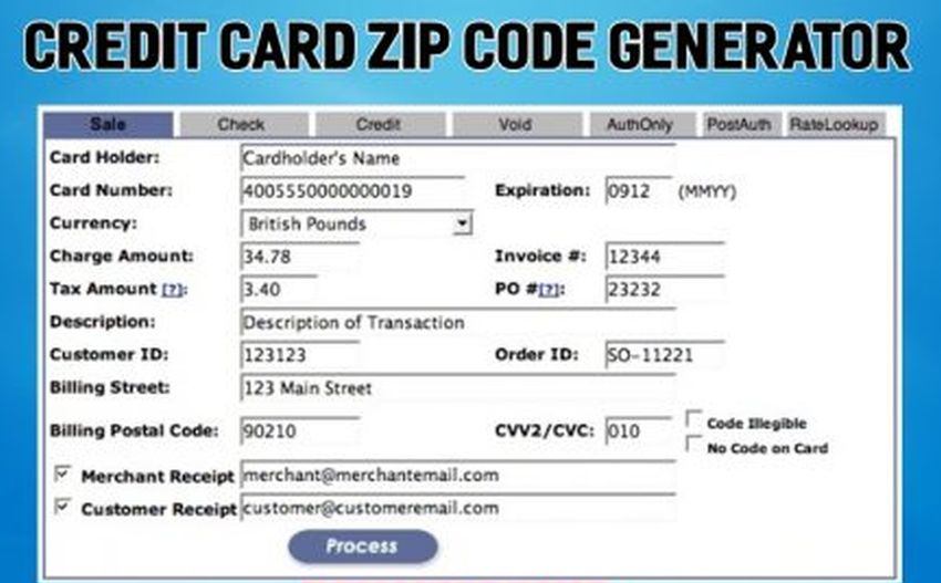 Credit Card Generator with Zip Code - How Does It Work - Access